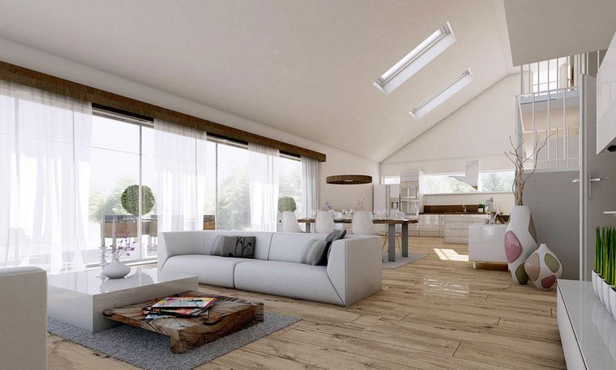 Laminatboden im hellen und offenen Wohnzimmer