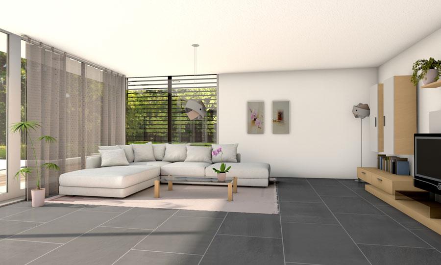 Dunkler Plattenboden im Wohnzimmer